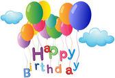 Un saludo de feliz cumpleaños con globos de colores — Vector de stock