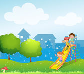 Three kids playing at the playground — Stock Vector