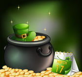 A pot of gold coins with a hat and a calendar — Stock Vector