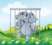 A caged gray elephant — Stock Vector