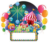 Three funny clowns in a carnival — Stock Vector
