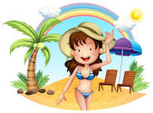 A girl in her swimsuit at the beach — Stock Vector