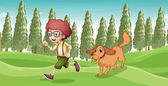 A boy and his dog playing at the park — Stock Vector