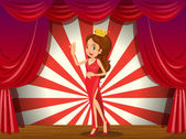 A girl wearing a crown at the stage — Stock Vector