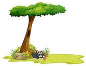 Un gato jugando bajo un árbol con hueco — Vector de stock