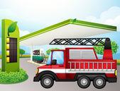 Rozvážkový náklaďák na benzínové stanici — Stock vektor