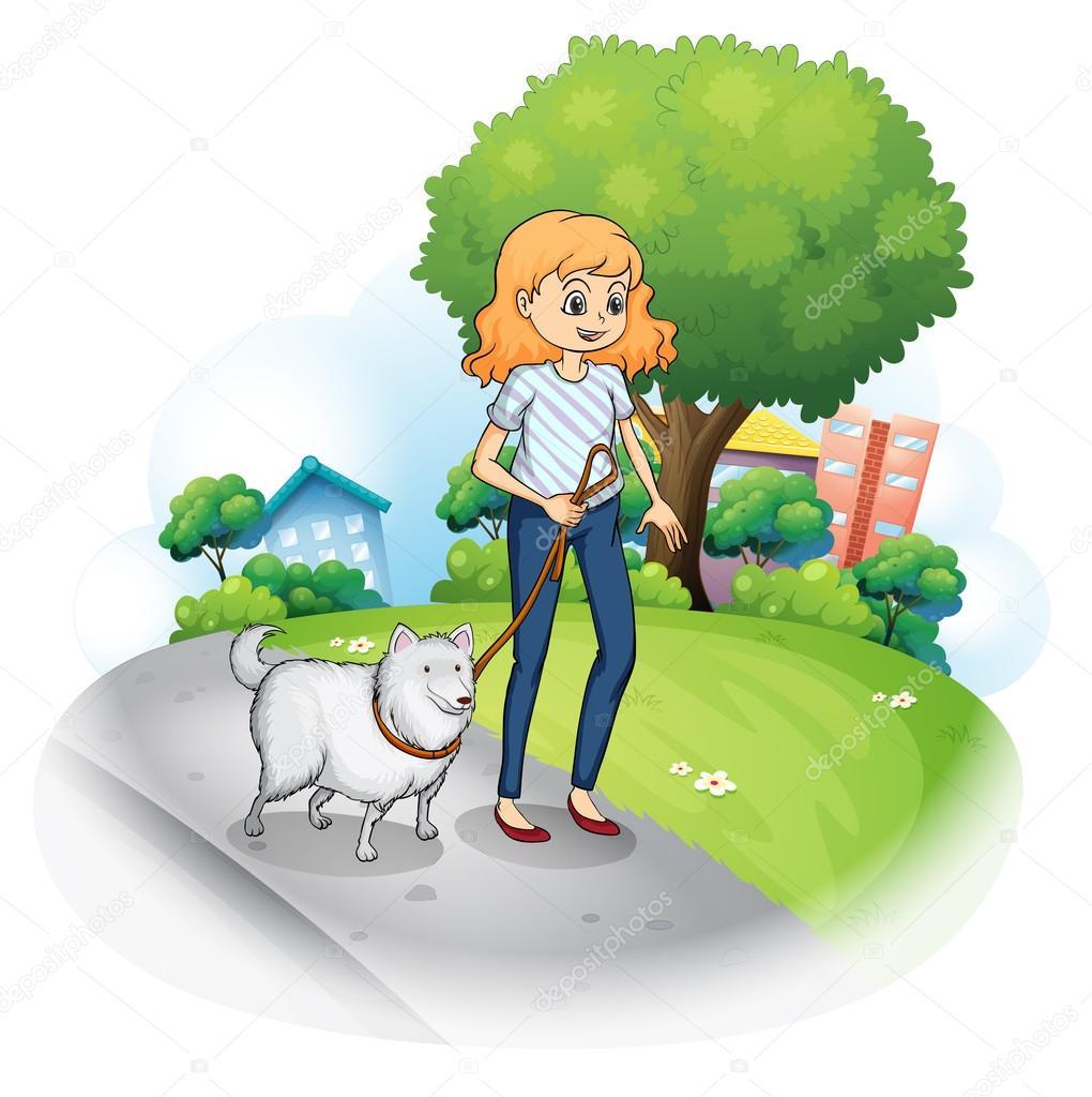 Una señora paseando con su perro — Vector de stock ...