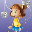 A girl looking at the disco balls - Stock Vector