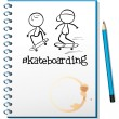 A notebook with two people skateboarding in the cover - Stock Vector
