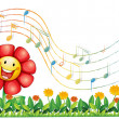 A red flower in the garden with musical notes - Stock Vector