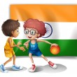 Stock Vector: Two boys playing basketball in front of the Indian flag