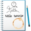 A notebook with a sketch of a person playing table tennis - Stock Vector