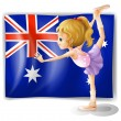 A young girl dancing in front of the Australian flag — Imagen vectorial