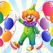 A male clown in the middle of the balloons - Stock Vector