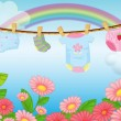 Infant clothes near the garden - Stock Vector