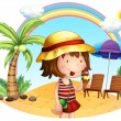 A beach with a little girl — Stock Vector