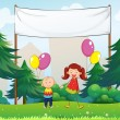 Stock Vector: Happy kids with balloons below an empty signage