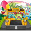 A yellow school bus with the scary monsters — Stock Vector
