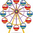 A ferris wheel - Stock Vector