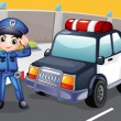 An officer and his patrol car - Stock Vector