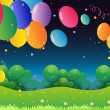 Colorful flying balloons at the hill — Stock Vector