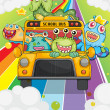 A school bus with monsters — Stock Vector
