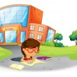 A girl writing in the hole near the school - Imagen vectorial