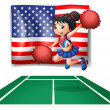 The USA flag and the young cheerdancer — Stock Vector