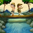 Royalty-Free Stock Vector Image: Two kids crossing the river