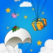 Stock Vector: Three parachutes with gifts