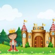 A king in front of his castle — Stock Vector
