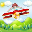 A boy riding in a red plane — Stock Vector #23025668