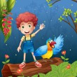 Stock Vector: Boy with bird at forest