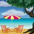Two chairs with umbrella at the beach — Stock Vector
