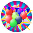 Colorful balloons inside the big circle — Stock Vector