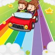 Two kids riding in a red car — Stock Vector