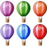 Six colorful hot air balloons — Stock Vector