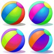 Four colorful inflatable balls — Stock Vector