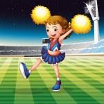 A cheerleader in the stadium — Stock Vector