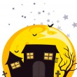 Bats near the scary haunted house — Stock Vector