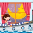 A ship inside the house with a girl reading - Stock Vector
