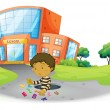 A boy playing in front of the school building - Stock Vector