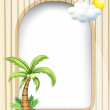 An empty template with a coconut tree — Stock Vector