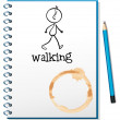 A notebook with a sketch of a person walking at the cover page — Stock Vector