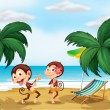 Two monkeys wearing a hawaiian attire - Stock Vector