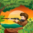 A man with a gun at the woods — Stock Vector