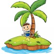 A boy sitting under the coconut tree — Stock Vector