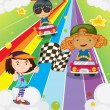 A car race at the colorful road — Stock Vector