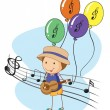 A young musician with balloons at the back — Stock Vector #23028864