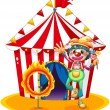 A ring of fire and a clown in front of a circus tent - Stock Vector